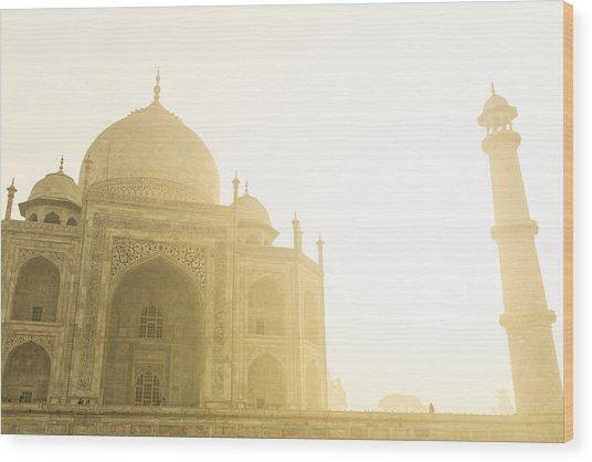 Taj Mahal In The Morning Wood Print