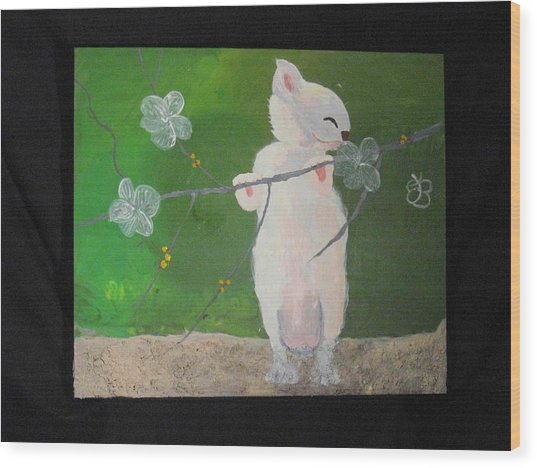 Wood Print featuring the painting Take Time To Smell The Flowers by AJ Brown