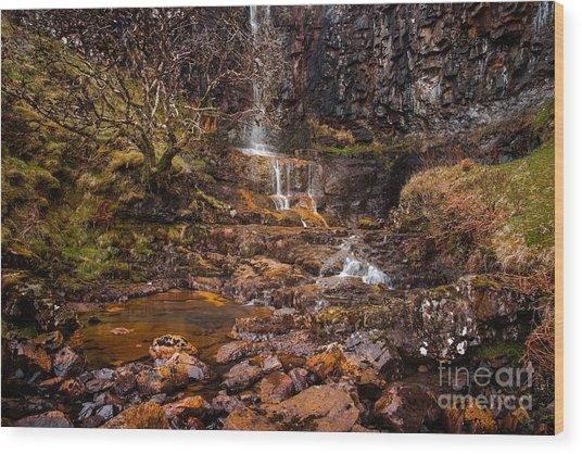 Talisker Waterfall Wood Print by Maciej Markiewicz