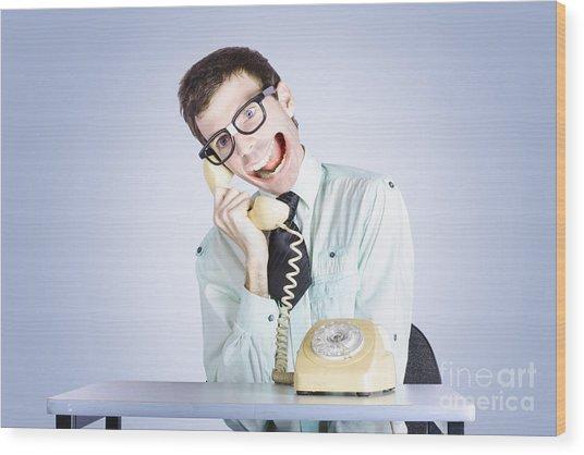 Talkative Nerd Man With Big Mouth Wood Print