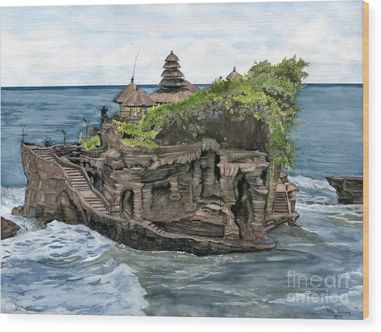 Tanah Lot Temple Bali Indonesia Wood Print