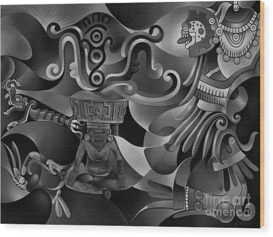 Tapestry Of Gods - Huehueteotl Wood Print