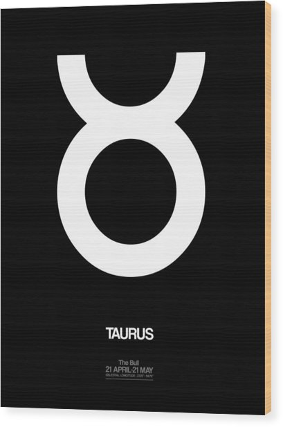 Taurus Zodiac Sign White Wood Print
