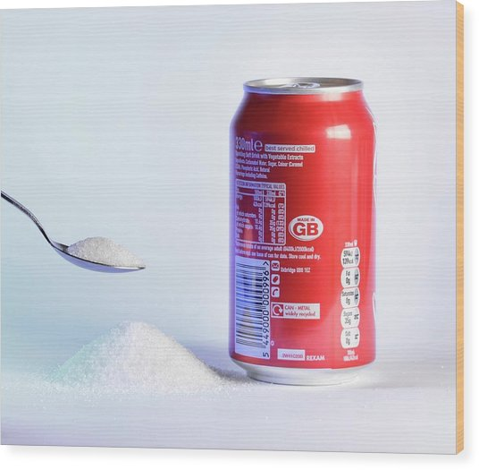 Teaspoon Of Sugar With Can Of Fizzy Drink Wood Print