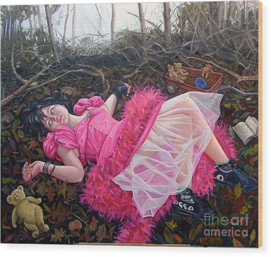teddy Bears Picnic Wood Print by Shelley Laffal