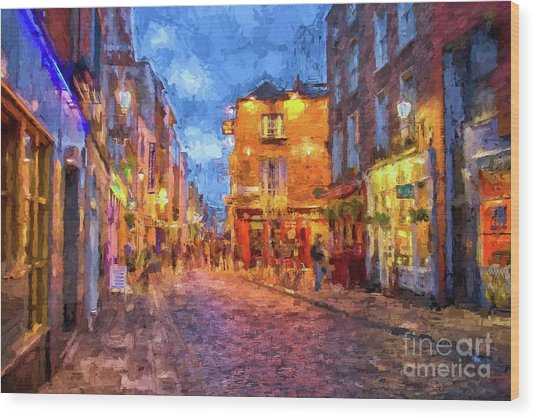 Temple Bar District In Dublin At Night Wood Print