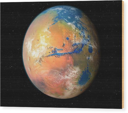 Terraformed Mars Wood Print by Mark Garlick/science Photo Library
