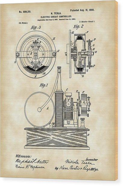 Tesla Electric Circuit Controller Patent 1897 - Vintage Wood Print