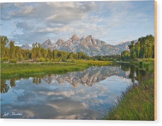 Teton Range Reflected In The Snake River Wood Print