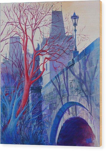 The Charles Bridge Blues Wood Print