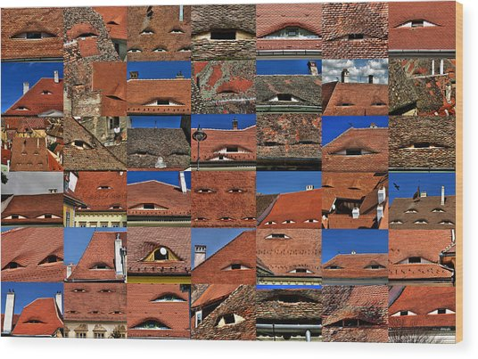 The City's Eyes Sibiu Hermannstadt Romania Wood Print