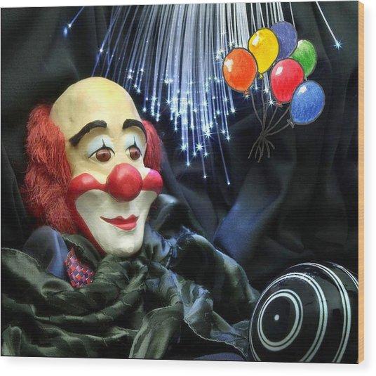 The Clown Wood Print