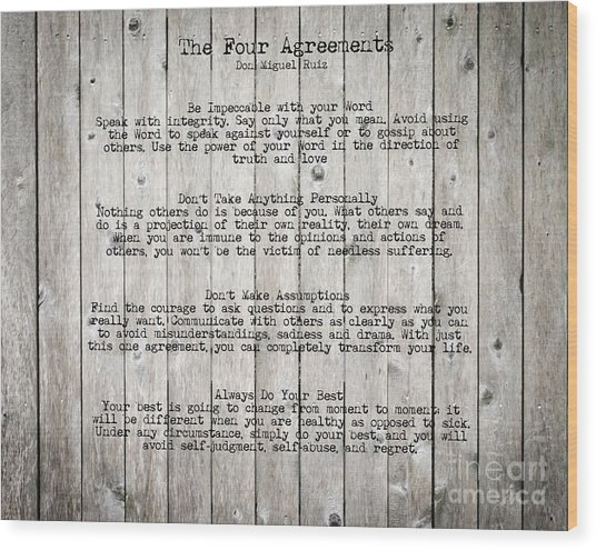 The Four Agreements Wood Print