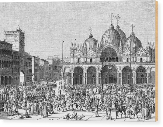 The French Pillage Venice,  Carrying Wood Print by Mary Evans Picture Library