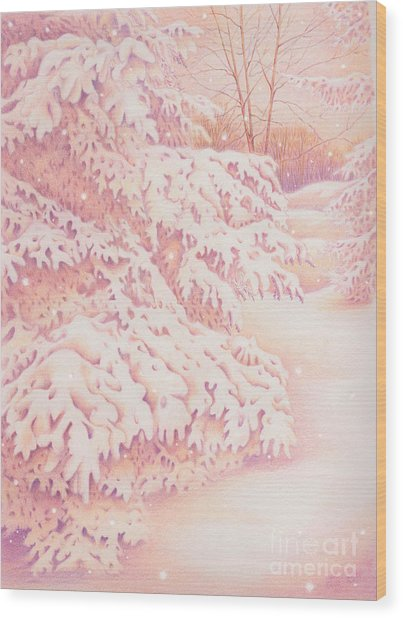 The Gently Falling Snow Wood Print