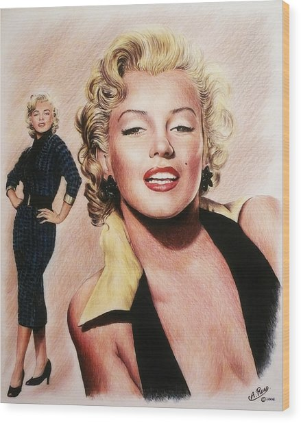The Glamour Days Marilyn Monroe Wood Print