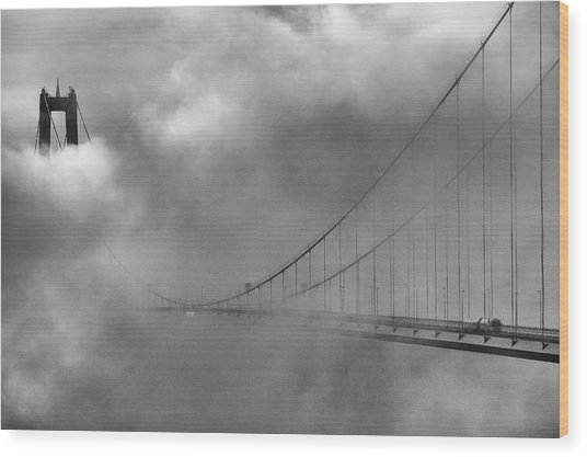 The High Coast Bridge Wood Print