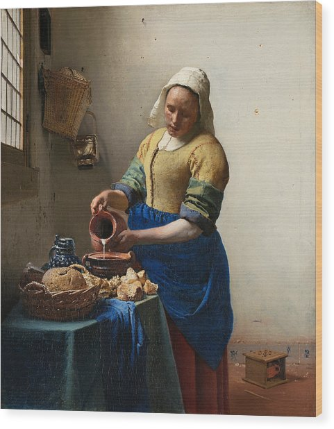 The Milkmaid Wood Print by Johannes Vermeer