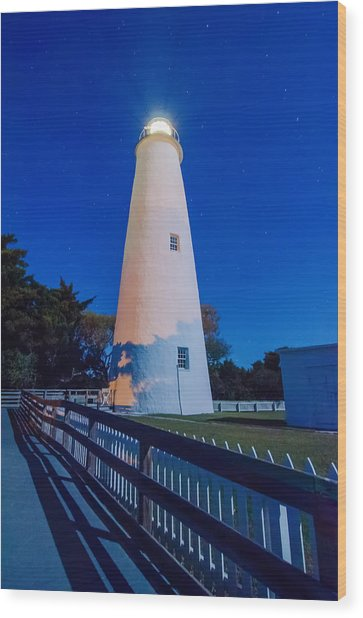 The Ocracoke Lighthouse On Ocracoke Island On The North Carolina Wood Print