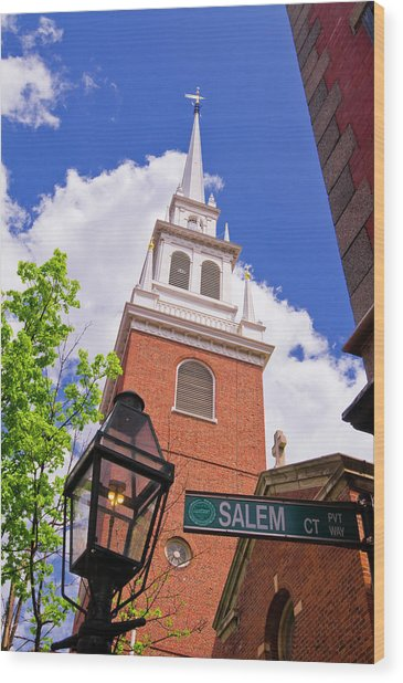 The Old North Church And Gas Street Wood Print