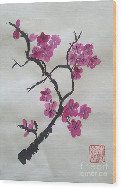 The Plum Blossom Wood Print
