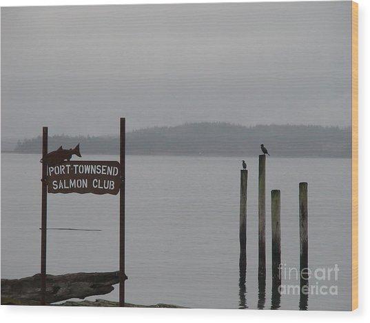 The Salmon Club Wood Print