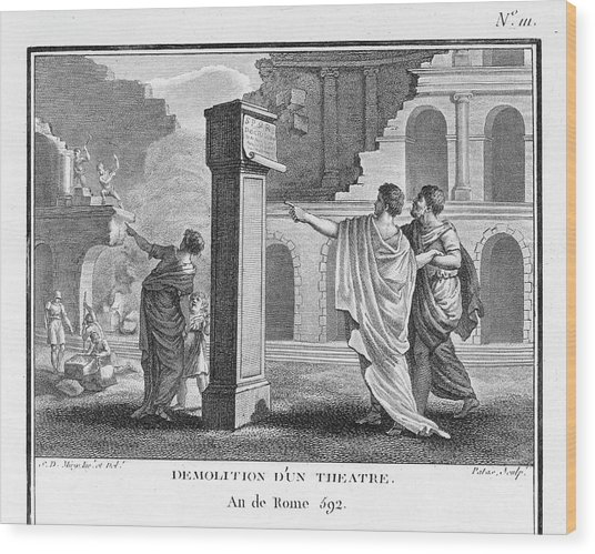 The Theatres Of Rome Are  Destroyed Wood Print