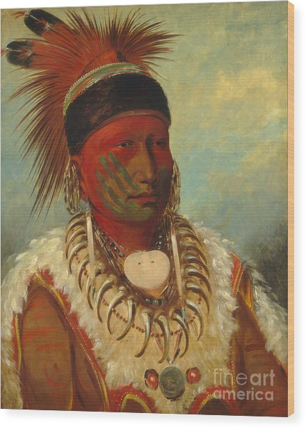 The White Cloud Head Chief Of The Iowas Wood Print