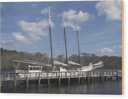 Three Mast Sailboat Wood Print