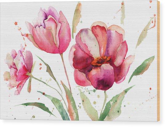 Three Tulips Flowers  Wood Print