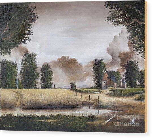 Through The Cornfield Wood Print