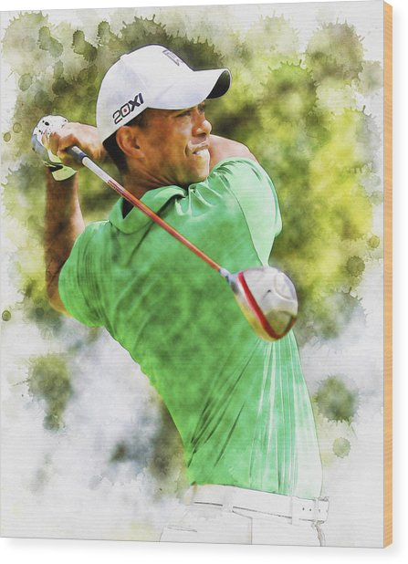 Tiger Woods Hits A Drive  Wood Print