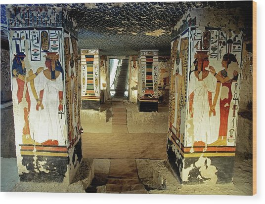 Tomb Of Queen Nefertari Wood Print by Patrick Landmann/science Photo Library