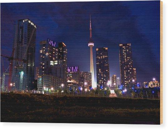 Toronto By Night Wood Print