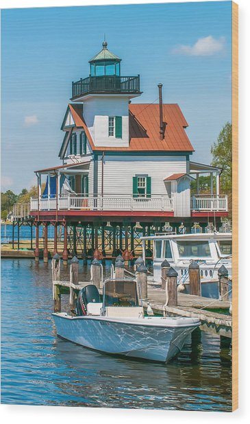 Town Of Edenton Roanoke River Lighthouse In Nc Wood Print