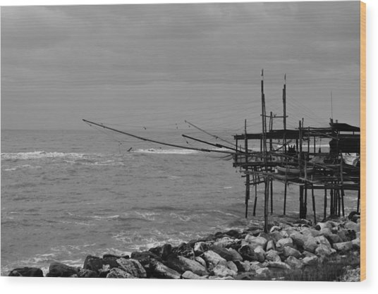 Trabocco On The Coast Of Italy  Wood Print