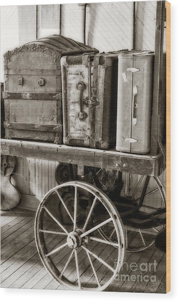 Train Station Luggage Cart Wood Print