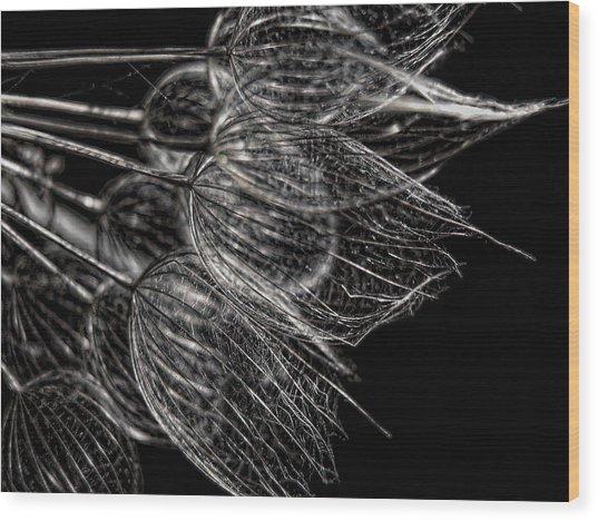 Silver Flowers Wood Print
