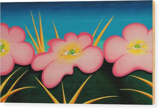 Tres Flores Wood Print