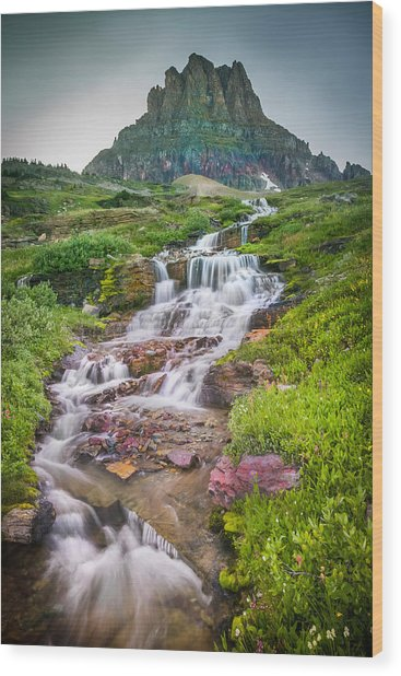 Triple Falls Stream Glacier National Park Wood Print