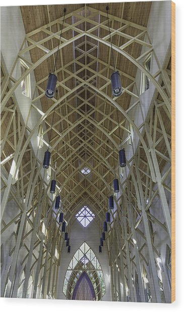 Trussed Arches Of Uf Chapel Wood Print