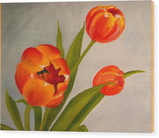 Tulips Wood Print by Valerie Lynch