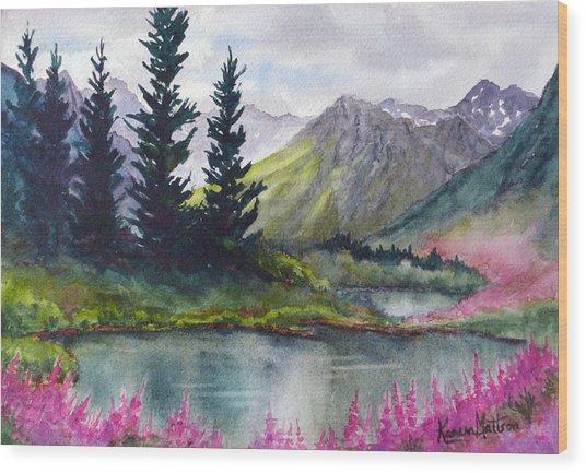 Turnagain Pass Fireweed Wood Print