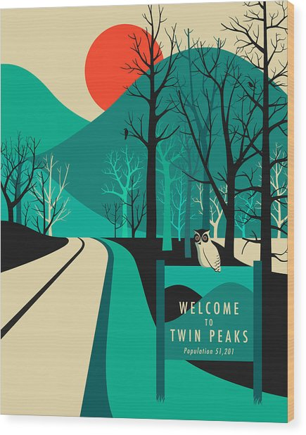 Twin Peaks Travel Poster Wood Print