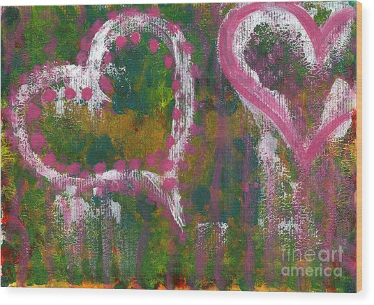 Two Hearts Wood Print by Angela Bruno