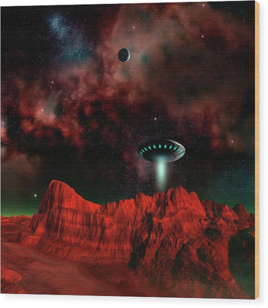 Ufo Over An Alien Planet Wood Print by Mehau Kulyk/science Photo Library