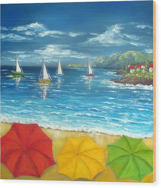 Umbrella Beach Wood Print