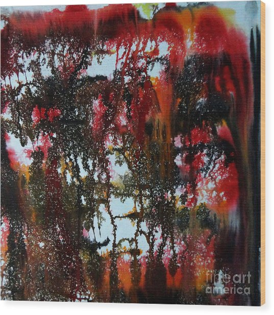 Red Forest Wood Print