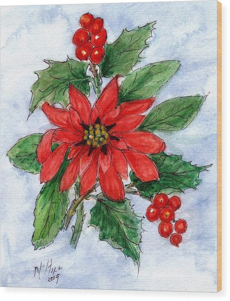 Poinsettia And Holly  Wood Print