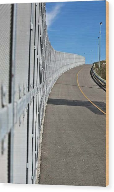 Us-mexico Border Fence Wood Print by Josh Denmark - U.s. Customs And Border Protection/science Photo Library
